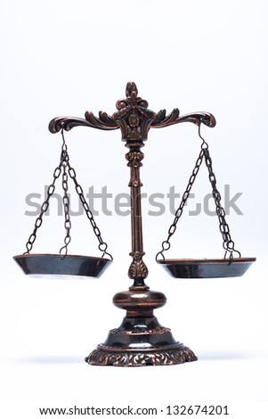 isolated antique scale of justice (balanced) - stock photo