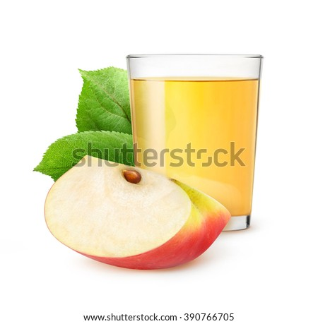 Isolated apple juice. Glass of apple juice and slice of red apple with leaf isolated on white background with clipping path - stock photo