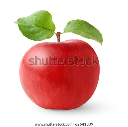isolated apple. Red apple with leaves isolated on white background