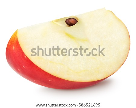 red apple slice. isolated apple slice. red fruit slice (cut) on white with clipping l