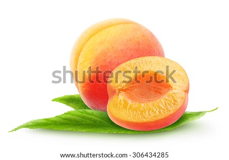 Isolated apricots. Cut apricot fruits on leaf isolated on white background, with clipping path - stock photo