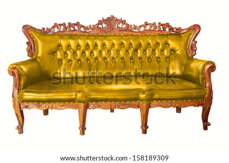 isolated Armchair  gold leather classical style sofa with clipping path