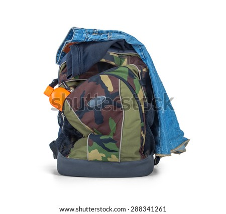 Isolated Army Camouflage backpack and clothes on white backgroun