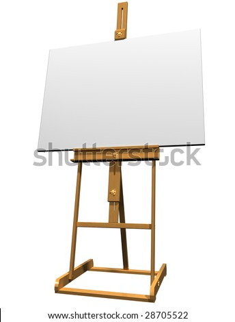 Isolated artist easel holding a blank canvas