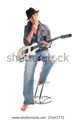 Isolated artist with guitar