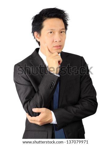 Isolated asian business man over white