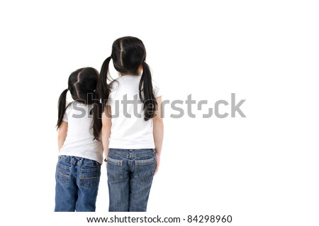 isolated asian girls looking up - stock photo
