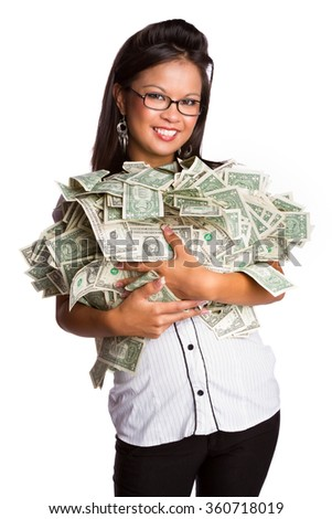 Isolated asian woman holding money