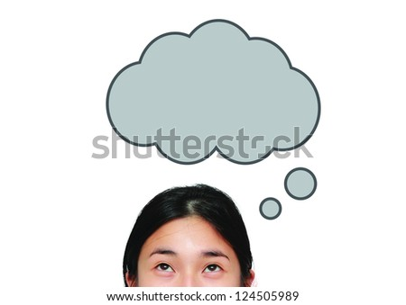 isolated asian woman look up to the idea box - stock photo