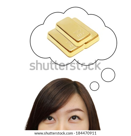 isolated asian woman look up to the idea box of gold and investment - stock photo