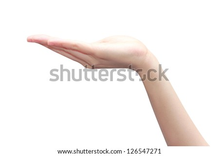 isolated asian woman with emthy hand