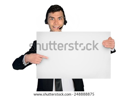 Isolated assistance man with empty banner - stock photo