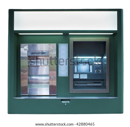 Isolated ATM Machine in a dark green color