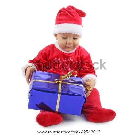 isolated baby christmas with present - stock photo