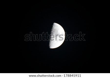 isolated background of half moon at night - stock photo