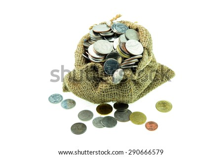 isolated bag filled with coins - stock photo