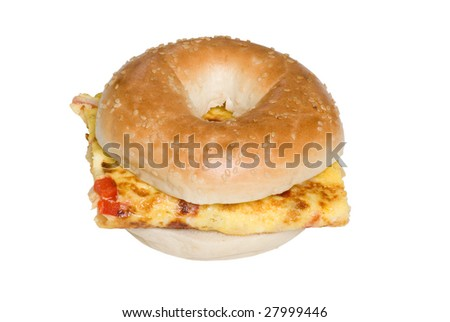 Isolated Bagel and Omelet sandwich top view