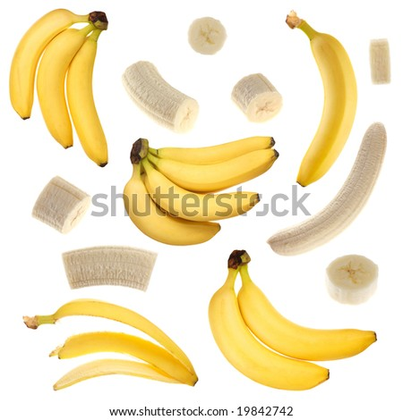 Isolated bananas collection - stock photo