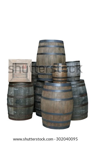 isolated barrels and box on white background - stock photo