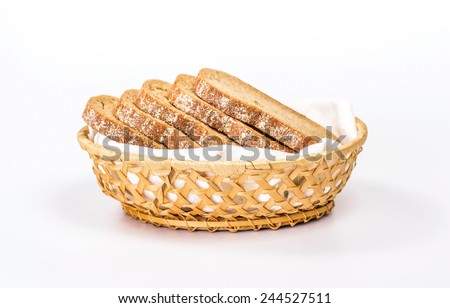 isolated basket of slice bread - stock photo