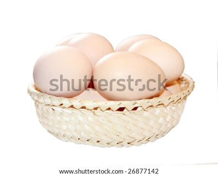 Isolated basket with eggs