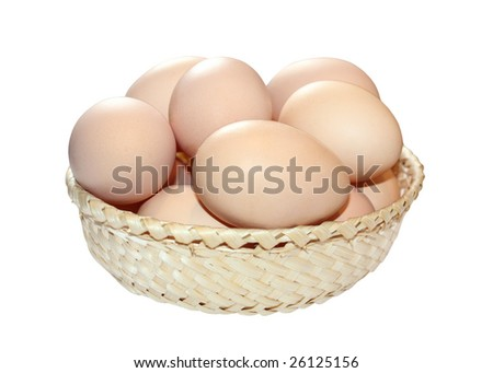 Isolated basket with eggs inside