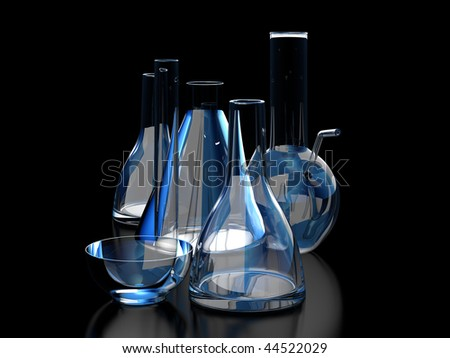 isolated beaker on black background. - stock photo