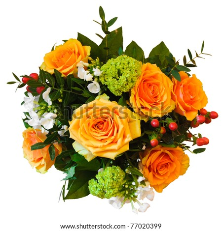 Isolated beautiful and colorful bouquet - stock photo