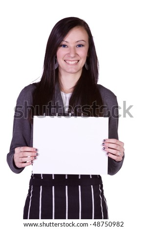 Isolated - Beautiful Girl in the Kitchen Holding a Blank Sign