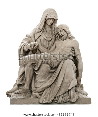 Isolated beautiful statue of Holy Mary holding the Corpus Christi on her lap - stock photo
