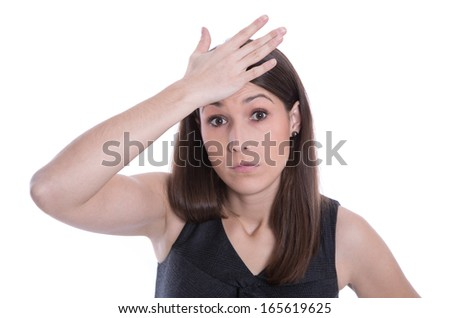 Isolated beautiful woman has forget an appointment - stock photo