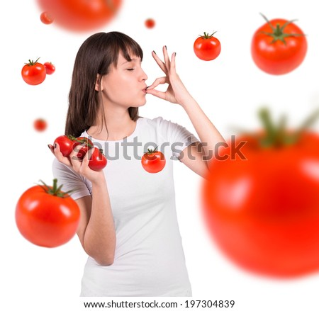 Isolated beautiful woman  with tomatoes. Perfect gesture. - stock photo