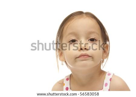 Isolated beauty little girl - stock photo