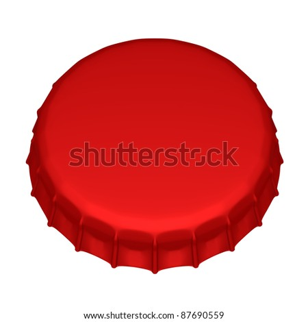 Isolated beer cap. 3d image - stock photo