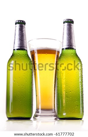 Isolated beer on white background - stock photo