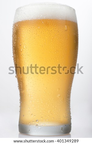 Isolated Beer Pint on a White Background - stock photo