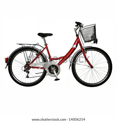 isolated bicycle - stock photo