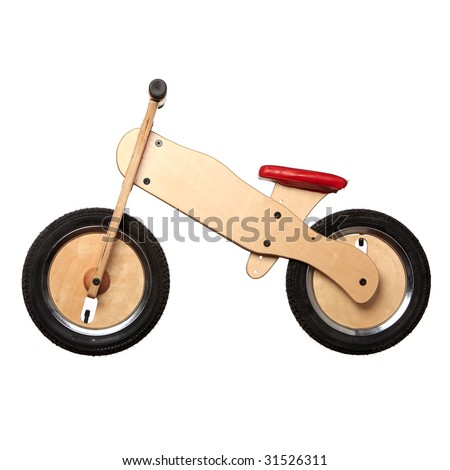 isolated bicycle wooden toy