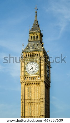 Isolated Big Ben Tower in London, UK