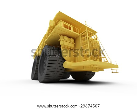 isolated big orange truck over white background
