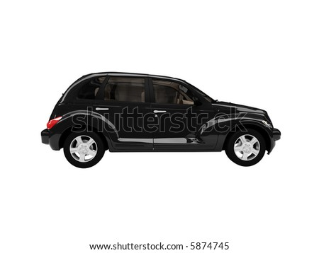 isolated black american car on a white background