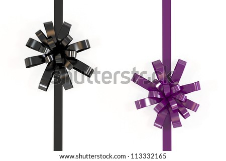 Isolated black and purple ribbon with clipping path