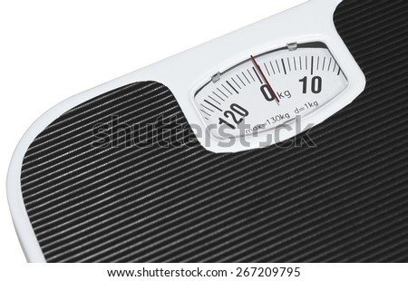 Isolated black and white bathroom scales - stock photo