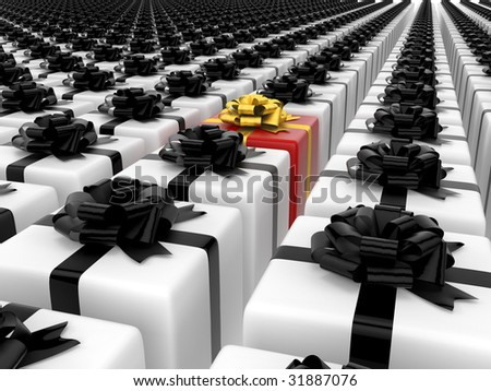 isolated black and white boxes with color single box - stock photo