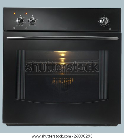 Isolated Black Built-in Oven 1 - stock photo