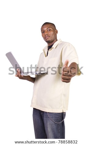Isolated Black Businessman working on laptop and gesturing with thumbs up - stock photo