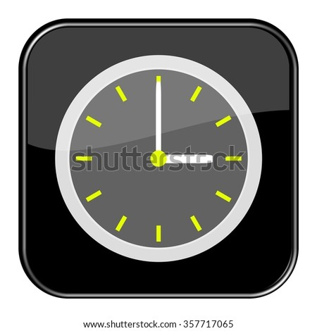 Isolated black button with time showing 3 o'clock
