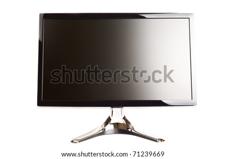 Isolated black flat LCD monitor on a white background - stock photo