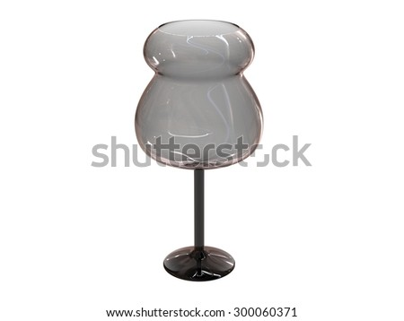isolated black glass 3d render on white background