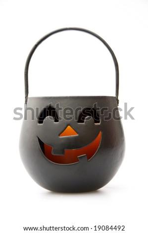 Isolated Black Jack-O-Lantern - stock photo